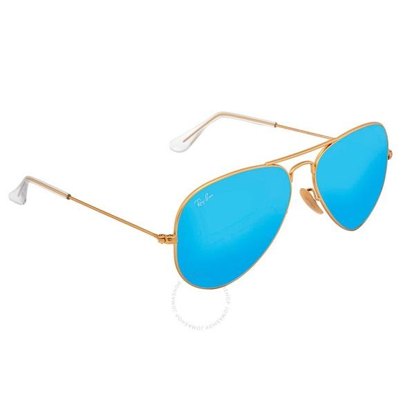 Ray-Ban Aviator Matte Gold Frame Blue Lenses